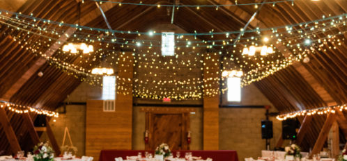 Pine River Ranch Wedding Reception in Barn