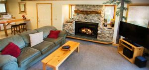 Suite at Pine River Ranch with a cozy fire burning