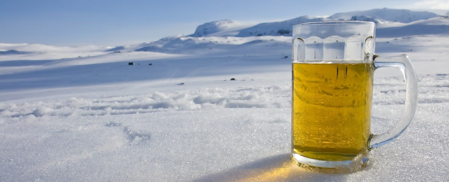 beer snowy background