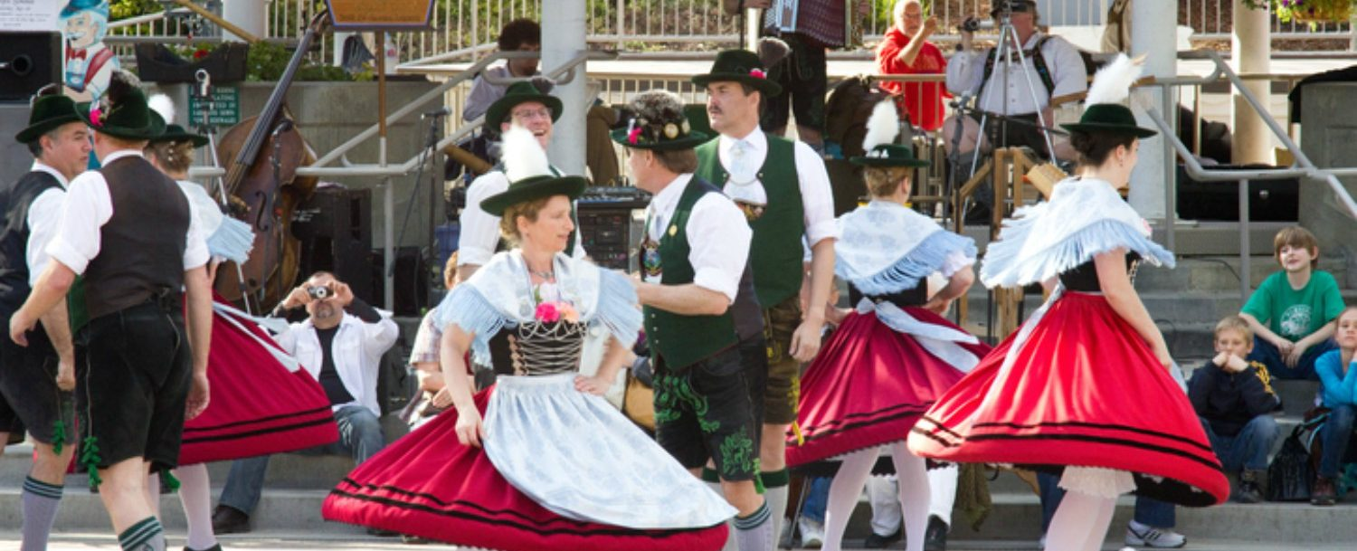 Bavarian dancers celebrate in Front Street Park in Leavenworth