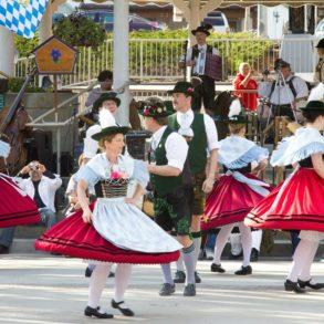 Bavarian dancers celebrate in Front Street Park in Leavenworth