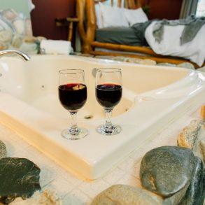 Wine Glasses on the Nason Suite Bathtub