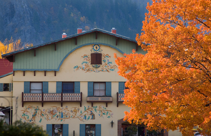 Fall Colors German Buildings Orange Maple Leaves Leavenworth Washington