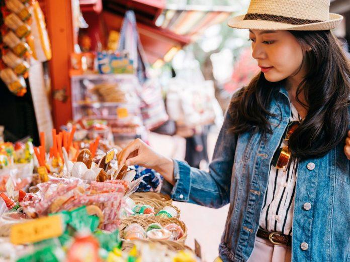 Woman shopping at a market