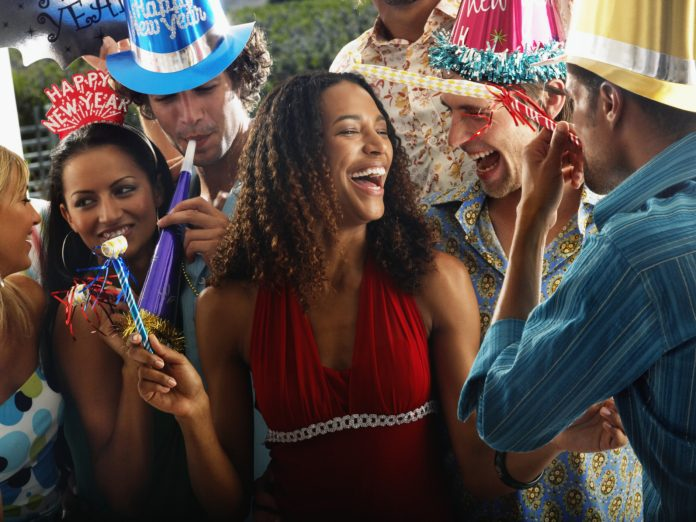 Friends Celebrating New Year's Eve in Leavenworth, WA