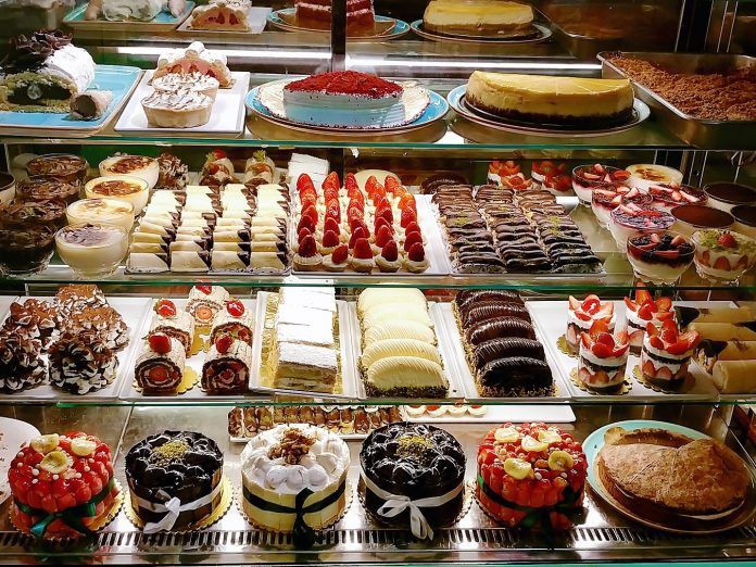 pastries in a bakery case